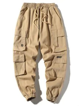 Hot Pocket Drawstring Jogger Cargo Pants   Light Khaki Xl by Zaful