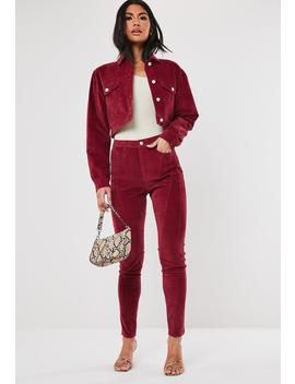 Tall Berry Co Ord Sinner High Waisted Cord Jeans by Missguided