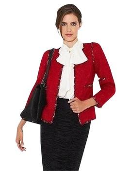 Red 10a 2010 Fantasy Tweed Jacket Fr / 8 10 Us Blazer by Chanel