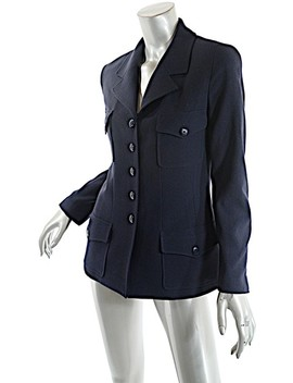 Navy Boutique Wool Crepe Shaped Jacket C. 1997a Blazer by Chanel