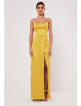 Peace + Love Mustard Satin Split Maxi Dress by Missguided