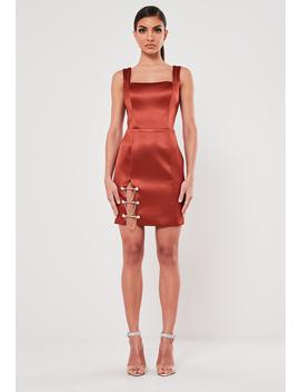 Peace + Love Rust Bar Trim Satin Mini Dress by Missguided