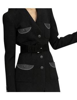 2008 Runway Black Wool Felt 4 Pocket Jewel Button Jacket Fr 42 Blazer by Chanel
