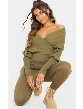 Khaki Wrap Off The Shoulder Sweater by Prettylittlething