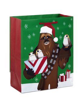 "9"" Star Wars™ Chewbacca™ And Porgs™ Christmas Gift Bag by Hallmark"