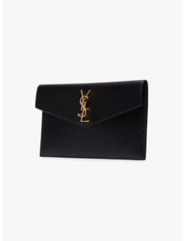 Black Uptown Leather Pouch by Saint Laurent