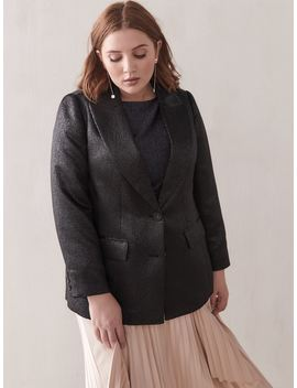 Single Breasted Jacquard Blazer   Addition Elle by Penningtons