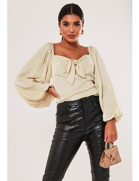 Cream Bardot Tie Front Crop Top by Missguided