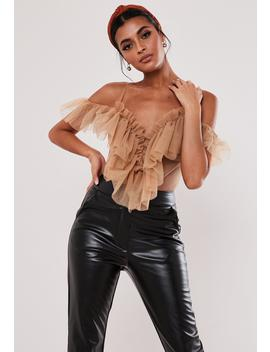 Petite Nude Tulle Ruffle Bodysuit by Missguided