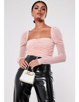 Nude Ruched Front Long Sleeve Mesh Bodysuit by Missguided
