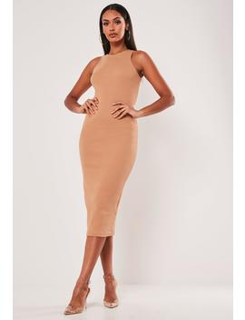 Tan Heavy Rib Picot Trim Midi Dress by Missguided