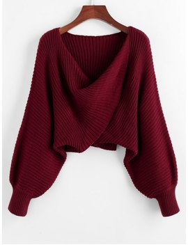 Twist Asymmetric Crop Sweater   Red Wine S by Zaful