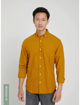 Good Cotton Brushed Oxford Shirt In Golden by Frank & Oak
