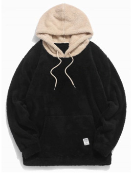 Colorblock Splicing Drawstring Fluffy Hoodie   Black L by Zaful