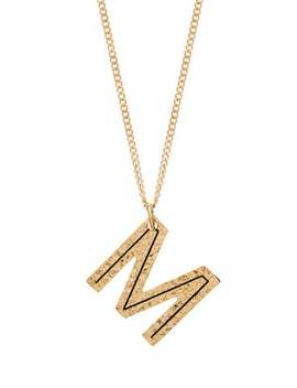 Hammered Letter Pendant Gold Plated Necklace by Burberry