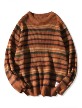 Crew Neck Striped Knitted Sweater   Brown M by Zaful