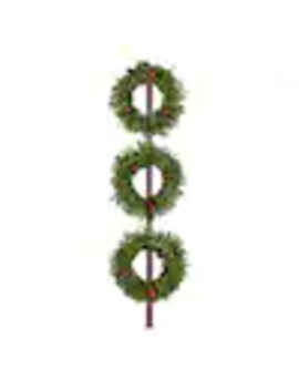 Fraser Hill Farm 3 Pack 20 In Pre Lit Outdoor Battery Operated Green Pine Artificial Christmas Wreath With White Clear Led Lights by Lowe's