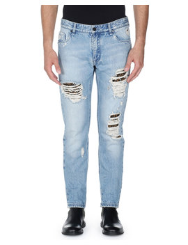 Distressed Denim Jeans by Fendi