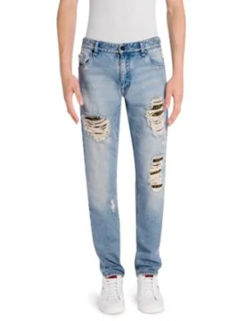Logo Underlay Distressed Skinny Fit Jeans by Fendi