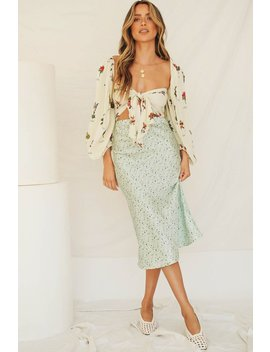 Back From Italy Bias Cut Midi Skirt // Mint by Vergegirl
