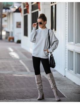 Woah Pocketed Cotton Blend Mock Neck Sweatshirt   Heather Grey by Vici