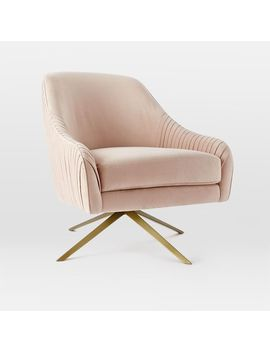 Roar + Rabbit Pleated Swivel Chair   Dusty Blush by West Elm