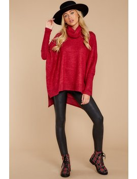 Last To Love Dark Red Cowl Neck Sweater by Story