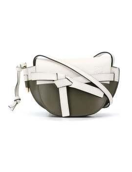 Loewe          Color Blocked Mini Gate Bag White & Green by Loewe