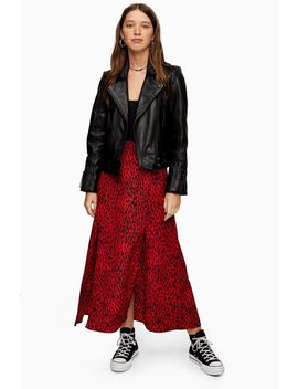 Red Spot Double Split Midi Skirt by Topshop