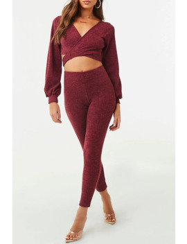 Surplice Crop Top & Legging Set by Forever 21