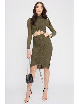 Drawstring Mesh Midi Skirt by Urban Planet