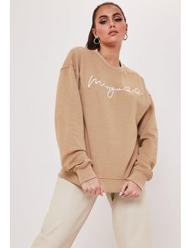 Camel Embroidered Missguided Slogan Sweatshirt by Missguided