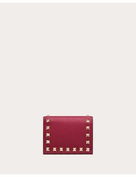 Compact Rockstud Grainy Calfskin Wallet by Valentino Garavani