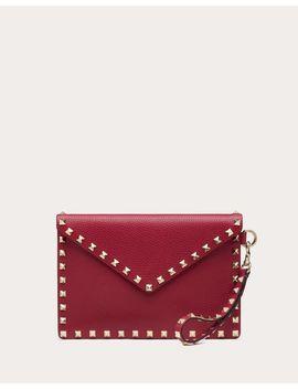 Medium Rockstud Grainy Calfskin Envelope Pouch With Detachable Strap by Valentino Garavani