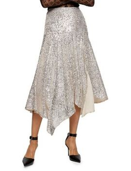 Asymmetric Sequin Midi Skirt by Topshop