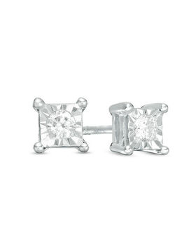 1/10 Ct. T.W. Diamond Solitaire Square Stud Earrings In 10 K White Gold by Zales