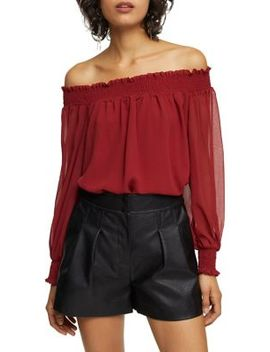 Shirred Bardot Top by Topshop