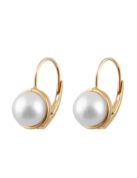 14k Gold Freshwater Pearl Leverback Earrings (7 8mm)   White   Yellow by Generic