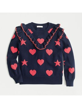 Girls' Ruffle Trim Sweater With Hearts And Stars by J.Crew