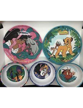 Vintage Disney Zak Melamine Plates & Bowls: Lion Ling & Hunchback Of Notre Dam by Ebay Seller