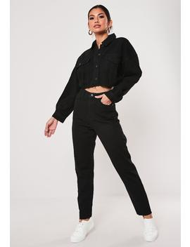 Black Co Ord Riot Raw Hem High Waisted Jeans by Missguided