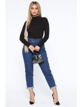 Motivate Me High Rise Mom Jeans   Dark Wash by Fashion Nova