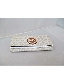 Michael Kors Vanilla Carryall Clutch Fulton Mk Logo Signature Pvc Flap Wallet 11 by Michael Kors