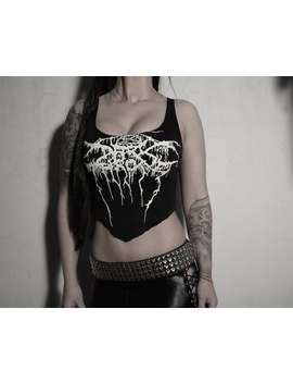 Darkthrone Destroyed Top Cropped ⇹ Black Metal ⇹  Shredded Shirt Top by Etsy