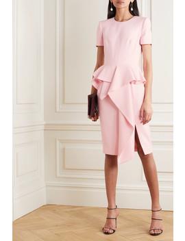 Ruffled Wool Blend Peplum Dress by Alexander Mc Queen