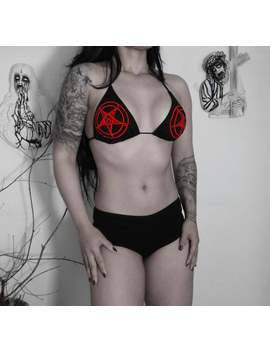 Inverted Red/White Pentagram  Top Bikini   Satanic  Swimsuit  Satanist Swimwear   Baphomet Bikini   Black Metal by Etsy