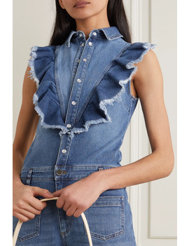 Ruffled Stretch Denim Jumpsuit by Red Valentino