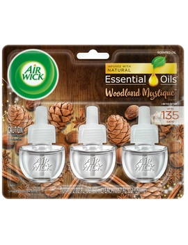 Air Wick Plug In Scented Oil 3 Refills, Woodland Mystique, (3x0.67oz), Air Freshener, Essential Oils, Fall Scent, Fall Décor by Air Wick