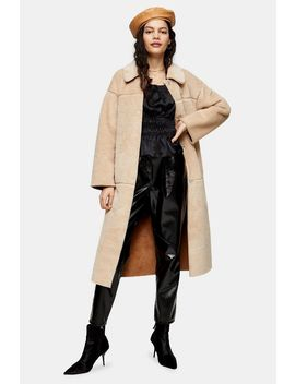 Cream Reversible Belted Borg Coat by Topshop