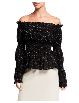 Endless Rose Off The Shoulder Polka Dot Smocked Sheer Blouse by Endless Rose